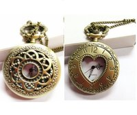 antique pocket watch chain - New Mini Retro Vine classical Pocket Watch Bronze Steampunk Quartz Necklace Pendant Chain Wactches Clock Floral Hollow watches