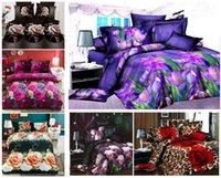 achat en gros de 3d bed set-Linge de maison Nouveau style Orchidée pourpre conception douce literie de jeu de 3D de housse de couette drap taie