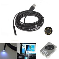 Wholesale 7MM M LED USB Endoscope Waterproof Borescope Photo Inspection Camera Camera For PC Computer Free drive
