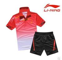 Wholesale Li ning Table Tennis T shirt Badminton Clothes Men Sports Clothing jersey summer style jersey