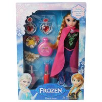 Wholesale New Arrived One Piece Children Toy Frozen Make Up Toy cm Christmas Toys Girls Elsa Stereo Eyelashes Queen Anna Princess Jewelry