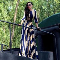 ladies chiffon fashion dresses - 2015 Fall fashion dress big striped long sleeve floor length maxi long dresses chiffon ladies casual dresses