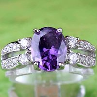 Wholesale 2015 New Lady Girl Women Cocktail Prom Homecoming Party Princess Oval Cut Purple Amethyst Topaz Gemstones K White Gold Plated Ring Size10