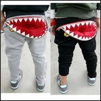 animal cargo shipping - 2015 Kids Girls Boys Fashion HIPHOP Harem Pants Shark Tooth Zip Cargo Pocket Black Gray Casual clothes DHL free ship MOQ SVS0312