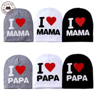 Wholesale New spring baby hat knitted warm cotton toddler beanies I LOVE PAPA MAMA print kids cap beanie hats for kids HUBK004