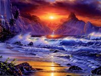 Wholesale DIY European Landscapes sea wave Full of Diamond Painting Cross Stitch Kits Over drilling Home Decoration