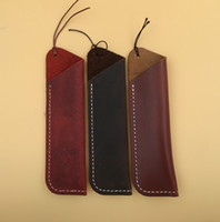 Wholesale Vintage Genuine Leather Pencil Pen Carry Case Holder Bag Colors Office School Supplies