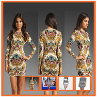 plus size bodycon - Sexy dresses for women Floral printed patchwork O Neck long sleeve bodycon bandage night clubs dresses S M L plus size summer KF886 KF889