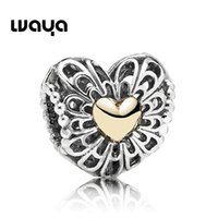 14k gold - 2015 Silver New Arrival Romantic Jewelry Classic Heart Charms with k Gold Flower Charms For Bracelets DIY X919