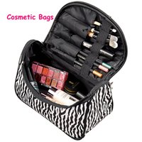 leather bag factory - Factory Price Zebra stripe Makeup Bag Patent Leather Waterproof Cosmetic Pouch Travel Handbag Casual Purse For Ladies
