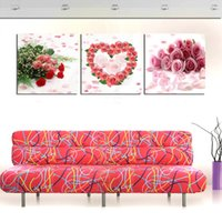 Cheap ROSE vintage 3 Panels kitchen decor Modern Wall Painting flower Art Picture Paint on Canvas Pure hand-painted for home home deco