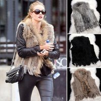 Wholesale 2014 New Fashion Women s Knitted Rabbit Raccoon Fur vest Collar Fur Mixed Natural Fur Coat