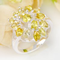 Cheap 5 Pieces 1 lot Lucky Shine Friend Gift Dazzling Full Fire Citrine Crystal 925 Sterling Silver Rings Russia American Australia Wedding Rings