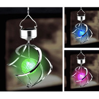 wind power - Colorful Solar Powered Garden Light Outdoor Courtyard Hanging Spiral Lamp LED Wind Spinner
