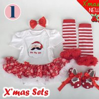 Wholesale Babys Christmas Romper sets Headband Skirt Romper Shoes Legging Christmas Jumpsuits Designs Sizes M Bodysuits Baby Jumper