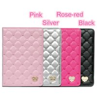 Wholesale Luxury Rhinestone Heart Smart eather Case Stand Cover For iPad Air mini