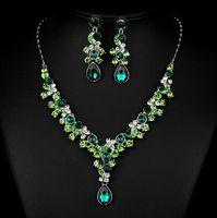 Wholesale Wedding Bridal Earring Necklace Jewelry Set Crystal Rhinestone Wedding Accessories luxury crystal pearls Bridal Jewelry Set