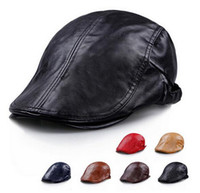 Wholesale Hot New Leather casquette Beret hat for male High Quality pure color winter warm Hats caps For Men and women fashion mens casual Boina B468