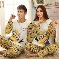 adult matching pajamas - Lovers sleepwear spring autumn long sleeve cartoon lovers home clothing couples matching pajamas adult minion pajamas sets