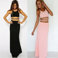 Casual Dresses Bohemian Dresses Summer Sexy 2 Piece Bandage Dress 2015 Summer Black And Pink dress Bodycon Women Party Dress Night Club Wear Outfits