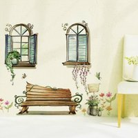 Wholesale Bedroom and Living Room Removable Wall Stickers With A Chair And Two Windows Pattern on Promotion