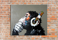 art gorillas - Handmade Abstract Thinking Gorilla Art Oil Painting On Canvas For Living Room Decor Hang Group Of Paintings