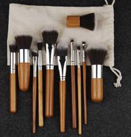 10PCS Fasion / set Maquillaje pinceles de bambú natural Maneja Súper cerdas suaves Ecológico fundación Polvo / cepillo de pestañas Kabuki