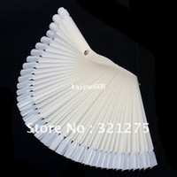 Wholesale Ivory White Plastic Flase Nail Art Tips Stick Display Practice Fan Board Nail Art Display natural color