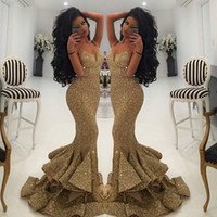 Wholesale New Designer Mermaid Gold Evening Gowns Lace Appliques Open Back Sequin Prom Dresses Pageant Gowns