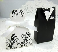 Wholesale Hot Candy Box Bride Groom Wedding Bridal Favor Gift Boxes Gown Tuxedo New BO7077