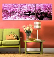 Cheap Picture 3 Panel Canvas Art Modern Wall Painting Cherry Blossom Home Decorative Art Picture Paint on Canvas Prints(No Frame)