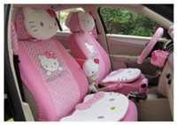 Wholesale pimk UNIVERSAL HELLO KITTY CAR SEAT COVERS FRONT REAR COVER ACCESSORY SET