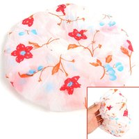 Wholesale 1 New Women Lady Waterproof Elastic Printing Plastic Shower Bathing Bouffant Salon Hair Cap Hat ZH059