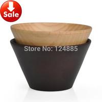 Cheap Wholesale-12*7cm Natural fruit Soup noodles ramen rice wooden Bowls Modern art wood salad bowl Chinese Creative 4pcs lot 52184