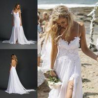 sexy wedding dresses - 2015 Beach Wedding Dresses with Spaghetti Straps Sweetheart Slit Chiffon Lace Wedding Gowns Sexy Summer Garden Backless Wedding Dresses