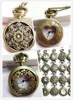 Wholesale Mix Steampunk Styles Men Antique Skeleton Mechanical Pocket Watch Chain Luxury Black Bronze Titanium Watches Christmas Gift