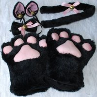 Wholesale 1 Set Cat Ears Plush Paw Claw Gloves Tail Ribbon Anime Cosplay Costumes Colors