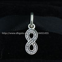al por mayor encantos símbolo de infinito-Símbolo de plata esterlina 925 del infinito cuelgan el encanto pendiente del encanto con los brazaletes europeos de las pulseras de la joyería de Pandora de los ajustes de CZ