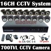 al por mayor 8pcs cctv-DHL Fedex! Gran sistema de circuito cerrado de televisión 16 CH, 8pcs cubierta + 8pcs al aire libre 700TVL cámara de vigilancia DVR Sistema CCTV Kit