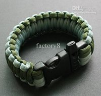 Wholesale 100 Custom Paracord Parachute survival Bracelets Hand Made with whistle colors