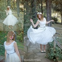 gypsy wedding dresses - Vintage s Style Wedding Dresses Tea Length Ivory Lace Wedding Gowns Full Skirt Original s Gypsy Short Bridal Dress Vestidos de Novia