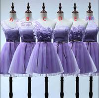 Sin respaldo corto vestido de fiesta atractiva 2016 cóctel púrpura dama de honor vestidos de cuello en V Graduación Sheer gasa vestido más barato hecho en China