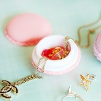 Wholesale Cute candy colored mini macarons modeling jewelry earrings necklaces rings portable storage box pill box