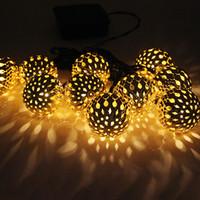 ball rails - Stylish m Solar LED String Light Hollow Ball Style Flashing Nightlight Railing Ceiling Christmas Decoration HX460