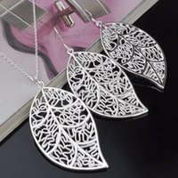 Wholesale Silver jewelry Set Silver leaf necklace earrings for women to send his girlfriend wife gifts YXD