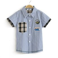 Cheap 2013 children's clothing boy child handsome stripe short-sleeve shirt 100% cotton turn-down collar summer short
