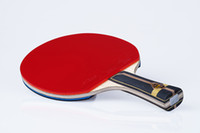 Wholesale Best professional table tennis racket offensive paddle holder rubber bats pingpong racket shake hand wooden handle grip short long
