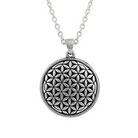 antique flower necklace pendant - 100pcs Flower Of life Custom Round Religious Charm Link Chain Pendant Necklaces Antique Silver Plated For Jewelry Making A126498