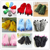 Wholesale 2014 New winter super soft coral velvet claws dinosaur Stitch plush cotton slippers shoes
