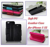 Cheap For Apple iPhone 5 5S Leather Case Best Soft PU Leather Black Leather Cover Case